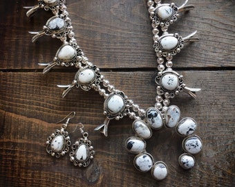 254g White Turquoise Squash Blossom Necklace and Earrings, Navajo Native America Indian Jewelry