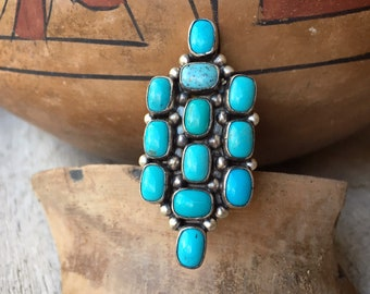 Navajo Paul Livingston Turquoise Cluster Ring for Women Size 8, Native American Indian Jewelry