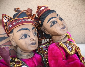 Pair of Myanmar Burmese Puppets Made of Wood with Ornate Velvet Costumes, Wood Dolls