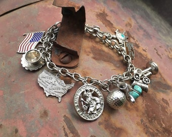 Vintage Sterling Silver Charm Bracelet with Oklahoma State Tomahawk Old Telephone, Vintage Estate Jewelry