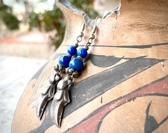 Lapis Lazuli Round Bead Earrings with Tribal Silver Amulets, Turkoman Teke Kuchi Ethnic Jewelry