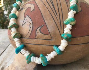 Vintage Turquoise Nugget and White Shell Heishi Necklace, Chunk Turquoise Santo Domingo Native Style