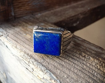 Men's Ring Size 13 Lapis Lazuli Sterling Silver Native America Indian Jewelry for Him