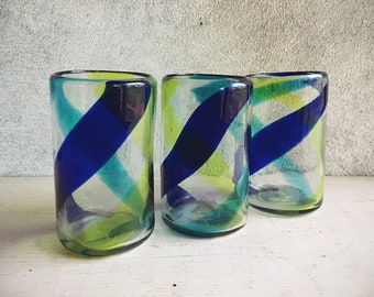 Three Mexican Blown Glass Tumblers Blue and Green Swirl, Chunky Glass Mexican Kitchen Bungalow