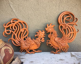 Pair of Mid Century Metal Rooster Wall Plaques Painted Orange by Vermay Made in USA, Cockfight Chicken Decor