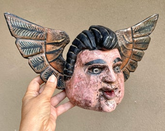 Carved Wood Angel with Wings Wall Hanging, Mexican Folk Art, Religious Decor, Chubby Cheek Angel