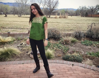 Size Small Green Top for Woman Huipil Mexican Blouse, Bohemian Shirt, Ethnic Top