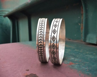 Two Stamped Sterling Silver Bangle Bracelets for Women, Native American Indian Jewelry