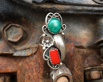 Coral Turquoise Ring Size 6 for Women, Native America Indian Jewelry Navajo Ring