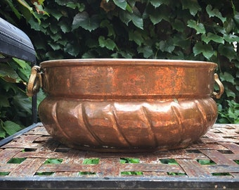 Hand Hammered Large Copper Planter Jardiniere Champagne Cooler, Rustic Indoor Outdoor Decor