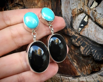 20g Black Onyx and Blue Turquoise Navajo Earrings, Navajo Native American Jewelry for Women