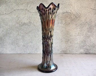 "Antique Fenton Vase 11"" April Showers Amethyst Carnival Glass, Favrene Iridescent Art Glass"