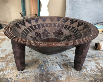 """Large 15"""" Diameter Kava Bowl from Fiji, Ceremonial Quality Collectible, Wedding Gift for Couple"""