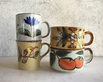 Four Midcentury Coffee Mugs Otagiri Stoneware Instant Collection Coffee Cups, Vintage Mugs