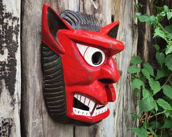 Red Wolf Man Mexican Mask Wall Hanging Rustic Home Bohemian Decor, Guerrero Mexico Nahua Folk Art