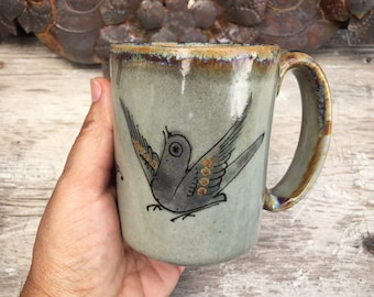 Vintage Ken Edwards Ceramic Coffee Mug, Tonala Pottery Coffee Cup, Brown Gray Bird Decor