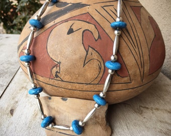 Denim Lapis German Silver Bead Necklace for Women, 1980s Native America Indian Jewelry Southwestern
