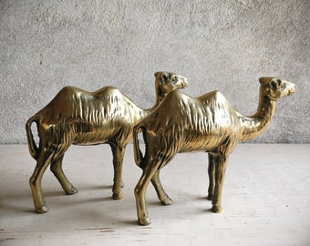 Pair of Brass Two-Hump Camel Statues Golden Christmas Decor, Midcentury Study Shelf Display