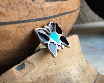 1970s Turquoise Black Onyx Inlay Ring Butterfly Size 5.75, Vintage Native American Indian Jewelry