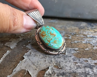 Vintage Turquoise Pendant for Necklace, Native American Indian Old Pawn Navajo Jewelry, Turquoise Jewelry, December Birthday Gift for Women
