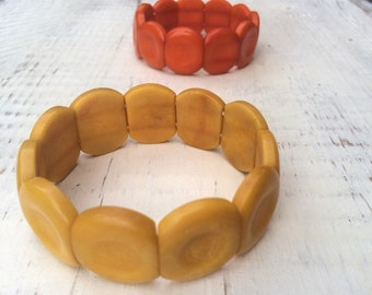 Vintage Yellow Tagua Nut Bracelet for Women, Ecuador Rainforest Jewelry, Bohemian Bracelet