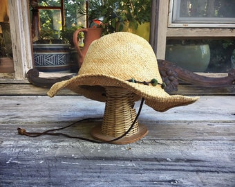 Vintage Distressed Scala Straw Hat Wide Brim Turquoise Leather Band, Boho Hippie Cowgirl Hat