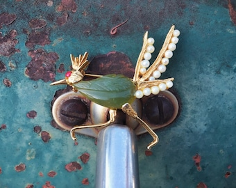 Vintage Costume Jewelry Roadrunner Brooch Pin with Carved Resin Faux Pearls and Faux Ruby