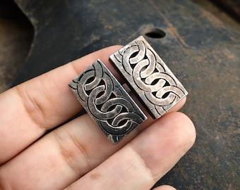 Vintage Sterling Silver Celtic Knot Cufflinks Rectangle Shape for Men, Scottish Irish Gift for Him