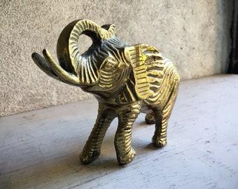 Vintage Brass Elephant Figurine Paperweight, Trunk Up Lucky Feng Shui Shelf Display Office Decor