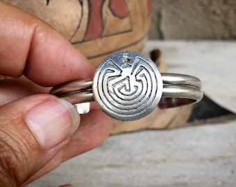 Girl's Dainty Sterling Silver Man in the Maze Cuff Bracelet, Vintage Southwestern Native American
