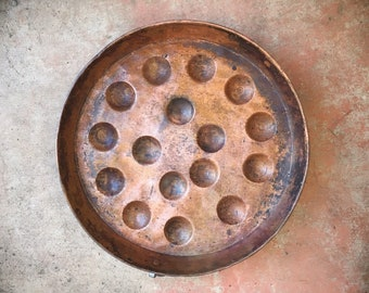 Antique French Copper Escargot Egg Pan, Vintage French Cookware, Rustic Copper Tray