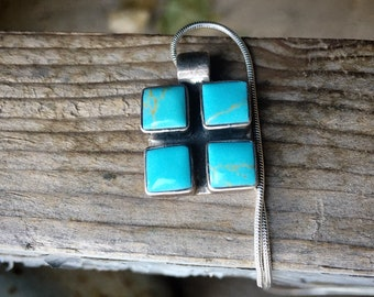 1930s Small Mexican Modernist Sterling Silver Turquoise Pendant on Snake Chain, Taxco Jewelry