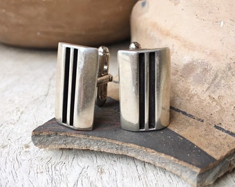 Vintage Sterling Silver Cuff Links for Men Signed Navajo Native American Indian Accessories, Southwestern Cufflinks