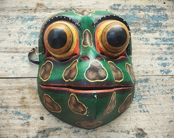 Vintage Wooden Mask Frog or Toad with Buggy Eyes, Balinese Folk Art, Indonesia Mask Wall Hanging
