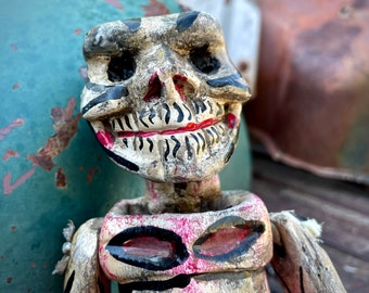 """16"""" Painted and Carved Wooden Skeleton Sculpture Articulating Body, Mexican Folk Art, Day of Dead"""
