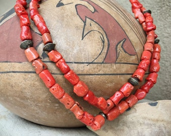 1940s Two Strand Navajo Coral with Silver Bead Necklace for Men or Women, Vintage Native American Indian Jewelry, Old Pawn Natural Coral