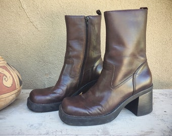 Vintage Chunky Heel Boots Women's Size 8 (Fit 7.5 to 8) Brown Leather MIA Platform Boots, Ankle Bootie