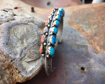 Heavy 39g Vintage Turquoise Cuff Bracelet for Women Signed Zuni Native American Indian Jewelry