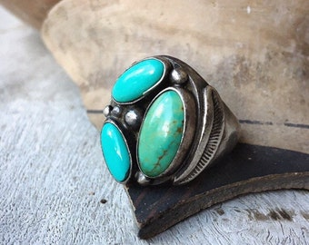 Vintage Heavy Turquoise Ring for Men Size 11.75 Natural Turquoise Green Blue, Native America Indian Jewelry
