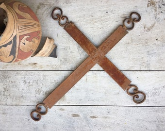 Large Vintage Mexican Wrought Iron Cross Wall Hanging, Rustic Southwestern Home Decor Gothic