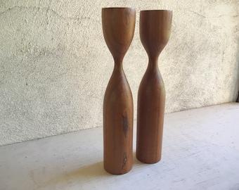 Vintage Danish Modern Teak Wood Candle Holder Set, Midcentury Modern, Pair of Candleholder Set