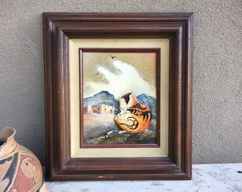 "1986 8"" x 10"" Two Dimensional Original Painting of Pottery by Wanda Coffey Framed 16"" x 18"", Southwestern Decor"