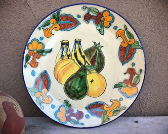 Talavera Plate Wall Hanging with Fruit Design, Mexican Pottery Folk Art, Rustic Southwestern Home