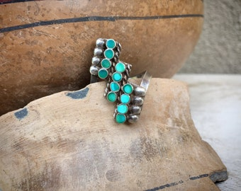 1960s Dainty Turquoise Ring Zuni Dishta Style Channel Inlay, Vintage Native American Indian Jewelry