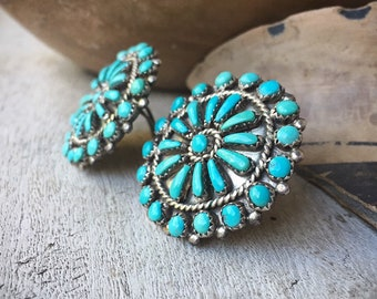 1950s  Zuni Petit Point Cluster Turquoise Earrings Post (Converted Clip-on), Native America Indian