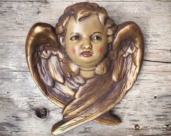 Vintage Painted Chalkware Angel with Wings Wall Hanging, Antique Reproduction Baroque Cherub
