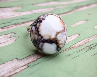 White Turquoise Stone Ring for Women Size 10, Signed Navajo Native American Indian Jewelry