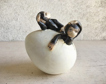 Small Mexican Pottery Art Sculpture of Monkey Emerging from Egg in the Style of Sergio Bustamante