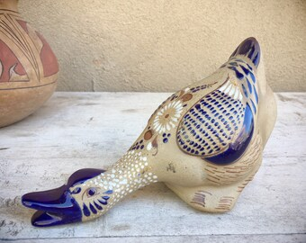 Tonala Pottery Goose Duck Figurine with Floral Design Blue White Gray, Mexican Pottery Folk Art