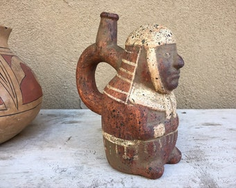 Vintage Pre-Colombian Reproduction Pottery Bottle South American Inca Stirrup Spout Vessel